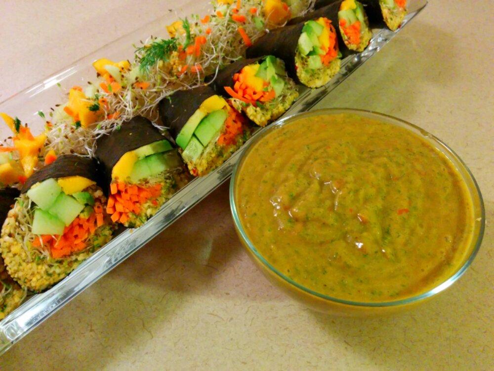 Orange Cauliflower Raw Vegan Sushi