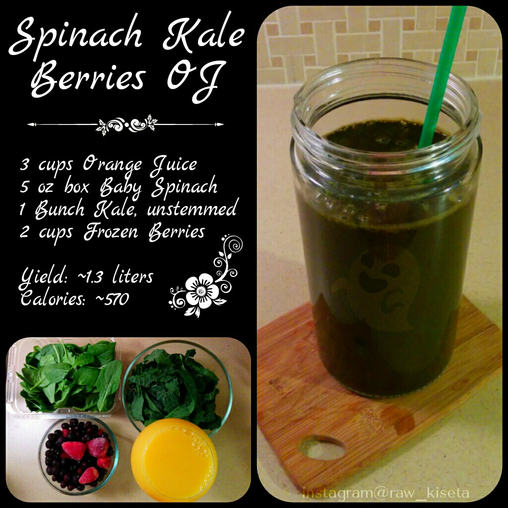 Spinach Kale Berries OJ Smoothie