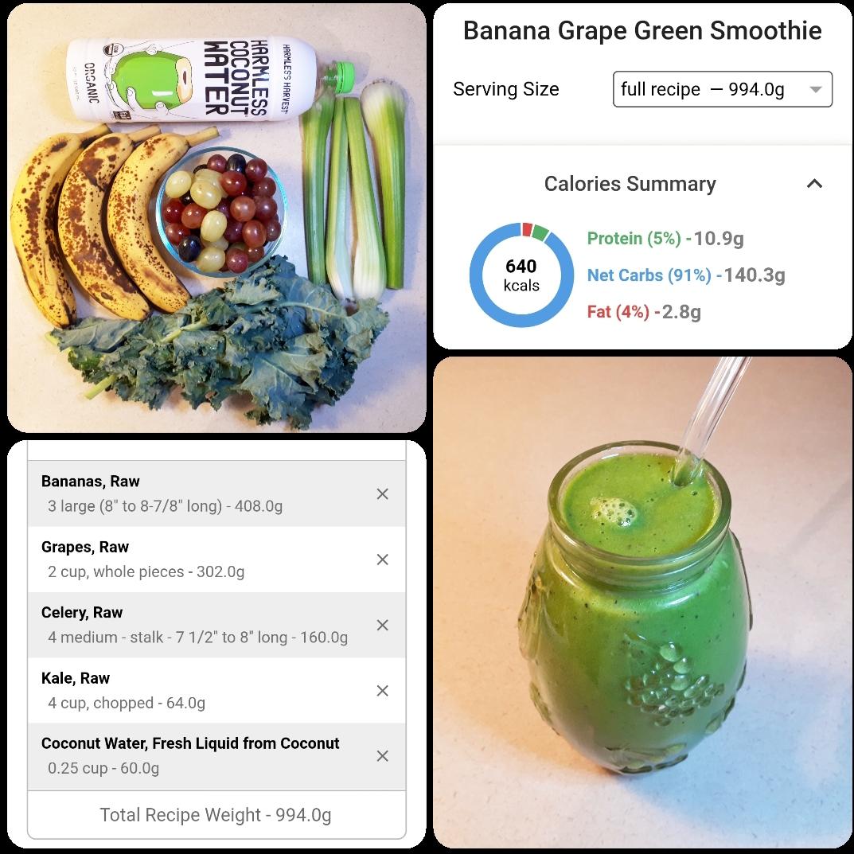 Banana Grapes Green Smoothie Recipe